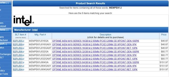 Nuevos Intel Optane MEM M10 listados